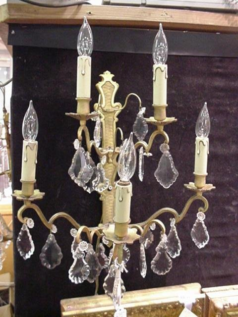 7: Pair of 5 Arm Brass and Crystal Prism Sconces: