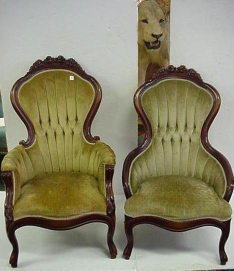 8: Mahogany Louis XV Sub Style Ladies and Gents Chairs: