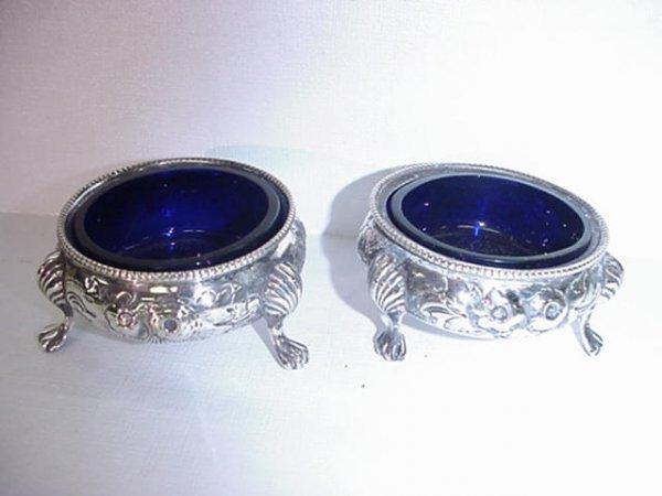 14: Pair of English Sterling Salt Dips, Cobalt Inserts: