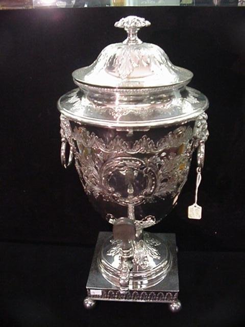 16: English Silver Plate Hand Chased Tea Urn: