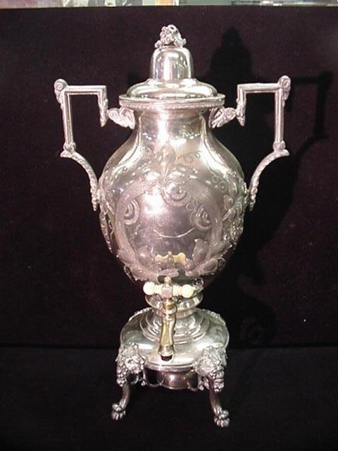 19: Silver Plate Etched Hot Water Urn with Ivory Knob: