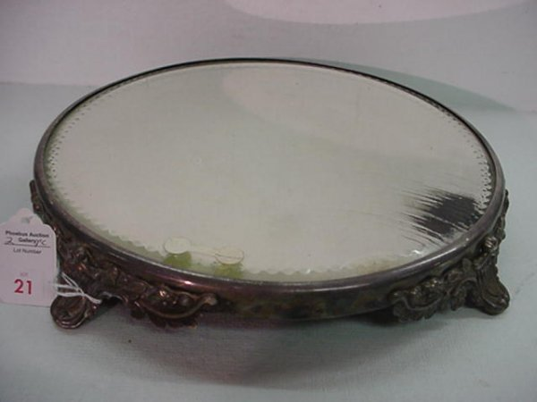 21: 2 Silver Plate Footed Mirror Top Plateaus: