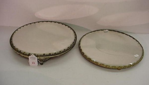 23: 2 Silver Plate Footed Mirror Top Plateaus: