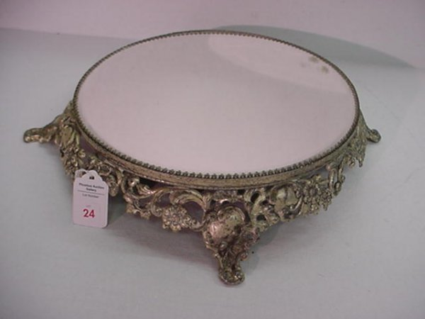 24: 1 Silver Plate Footed Mirror Top Plateau: