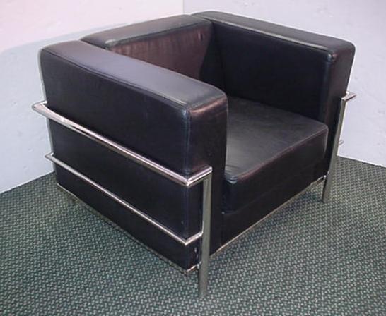 233: Black Leather Le CORBUSIER Style Chair: