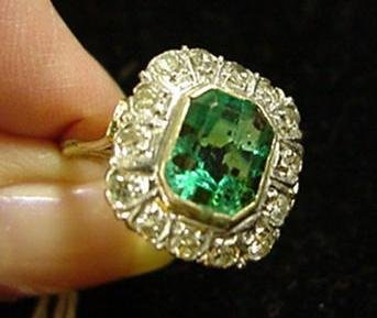 267: Ladies 14KT Emerald? and Diamond Dinner Ring: