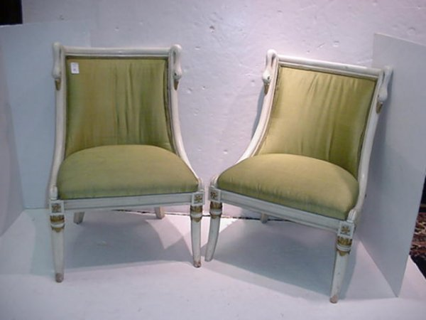 703: Pair of Swan Shoulder 19th C. Children's' Chairs: