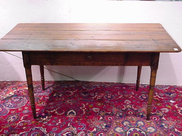 704: Primitive Plank Top Farm Table with Single Drawer: