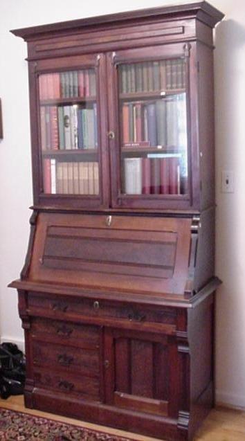 709: 19th C. Victorian Walnut Two Piece Secretary:
