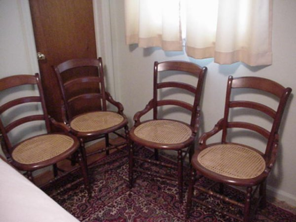 710: Set of Four Walnut Cane Seat Chairs: