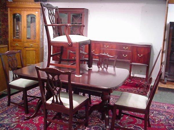 711: Nine Piece Mahogany 20th C. Dining Room Set: