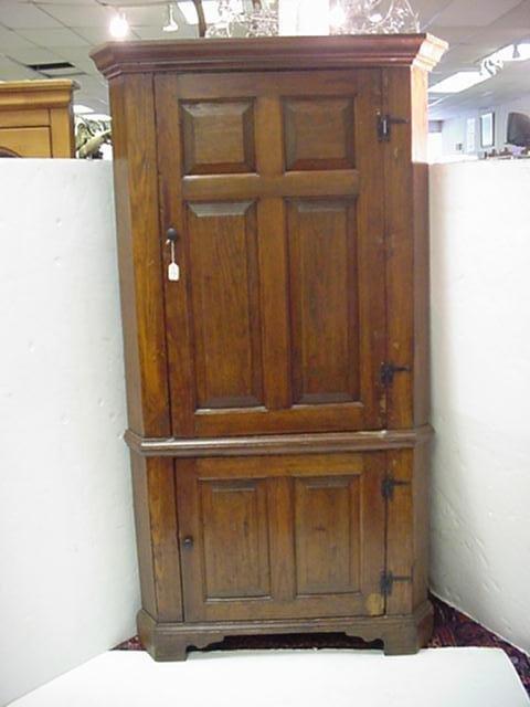 714: 19th C. Two Paneled Door Pine Corner Cabinet: