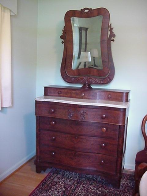 715: Figural Mahogany Marble Top Insert Dresser: