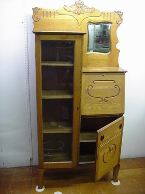 716: Golden Oak Side by Side Desk and Bookcase: