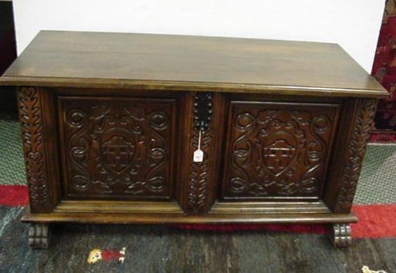 719: Hand carved Spanish Mahogany Trunk: