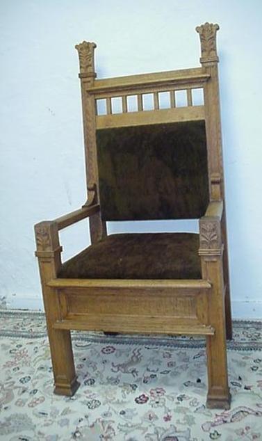 724: Oak Deacon's Upholstered Arm Chair: