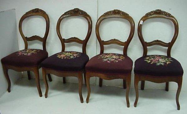 725: Set of 4 Victorian Needlepoint Balloon Back Chairs