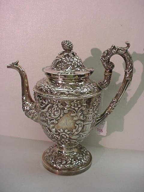 775: AE WARNER Repousse Chased Coin Silver Coffee Urn:
