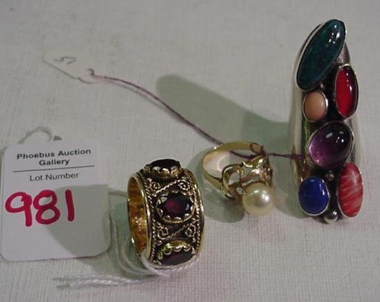981: 14KT, Sterling and Gold Rings: