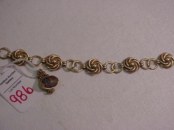 986: 14KT Gold Link Bracelet and Scarab Ring: