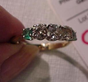 991: 14KT Ladies Diamond and Emerald Elegant Ring: