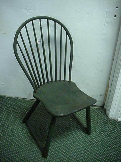 997: Primitive Green Hoop Back Chair: