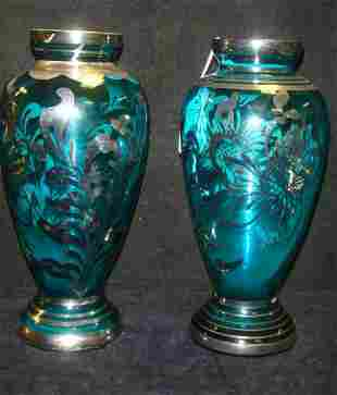 Pair of Vintage Italian Silver Overlay Glass Vases: