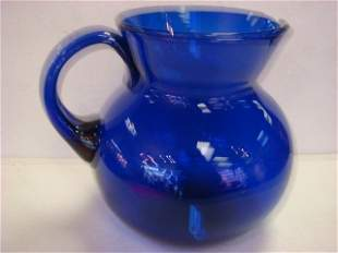 Large Blown Cobalt Glass Pitcher: