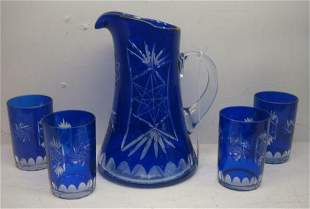 Cobalt Cut to Clear Pitcher with 3 Matching Tumblers: