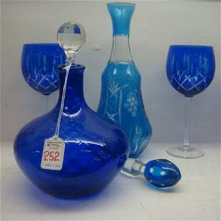 Cobalt and Blue Decanters with Stoppers and Stems: