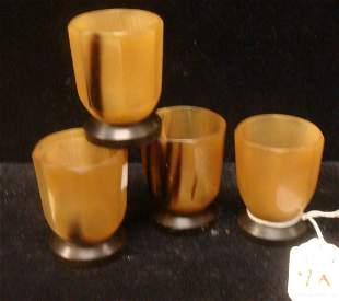 """Four Chinese Octagonal 2 1/8""""T Carved Horn Cups:"""