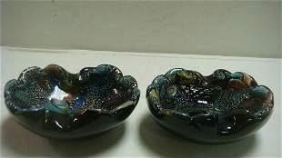 Pair of Venetian Blown Black Glass Bowls: