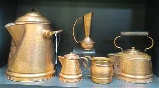 GREGORIAN Copper Kettles, Ewer, Creamer & Cup: