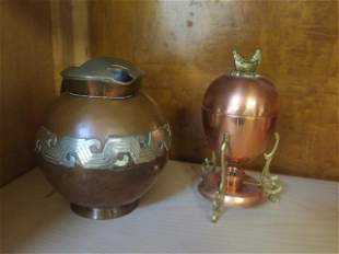 Copper Egg Boiler, Strainer and Mexican Pitcher: