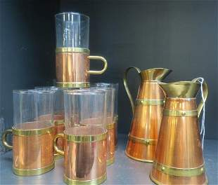 Two Copper/Brass Small Pitchers & 7 Cup Holders: