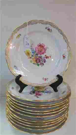 Twelve MEISSEN Oven & Porcelain Mfg. Flower Plates: