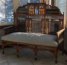 Antique Moroccan Bench Inlaid with Mother of Pearl: