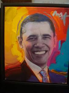"""PETER MAX Acrylic, """"OBAMA TO THE MAX"""", On Canvas:"""