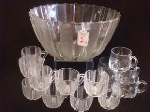 Glass Punch Bowl with 11 Matching Cups, 5 Extra Cups: