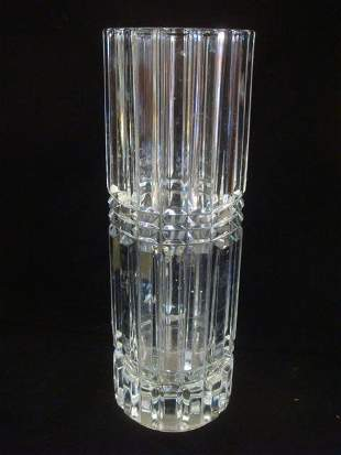 Ribbed Cylindrical Clear Crystal Vase: