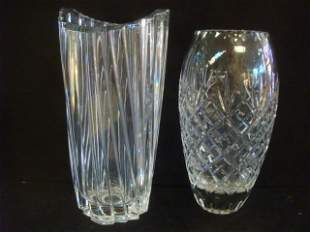 Two Clear Crystal Vases and Venetian Glass Bowl: