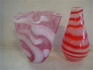 Two Pcs. Modern Art Glass, 1 Pink, Other Red Stripe: