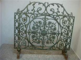 Vintage Painted Scrolled Wrought Iron Fire Screen: