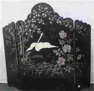 Ebonized Three Panel Table or Fire Screen with Swan: