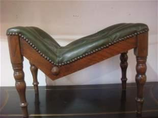 Button Tufted Oak Frame Gout Stool: