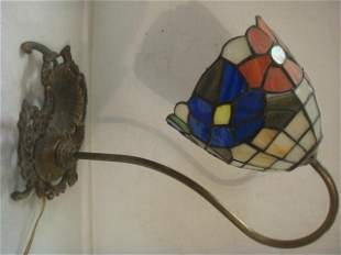 Leaded Slag Glass Bell Flower Lamp with Card Tray: