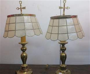Pair of Brass Table Lamps with Mica Shades:
