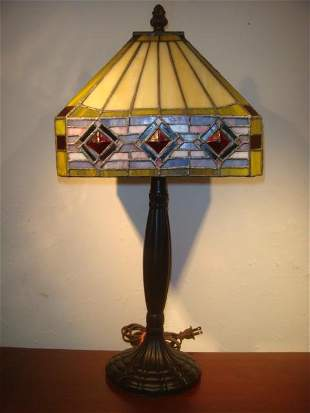 Tiffany Style Bronzed Table Lamp, Stained Glass Shade: