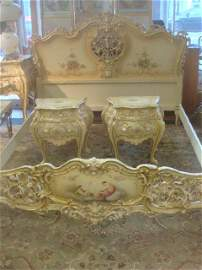 French Painted Queen Size Bed with Pair of End Tables:
