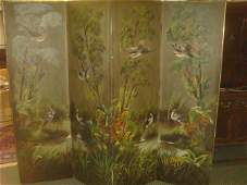 19th Century Hand painted Four Panel Canvas Screen: